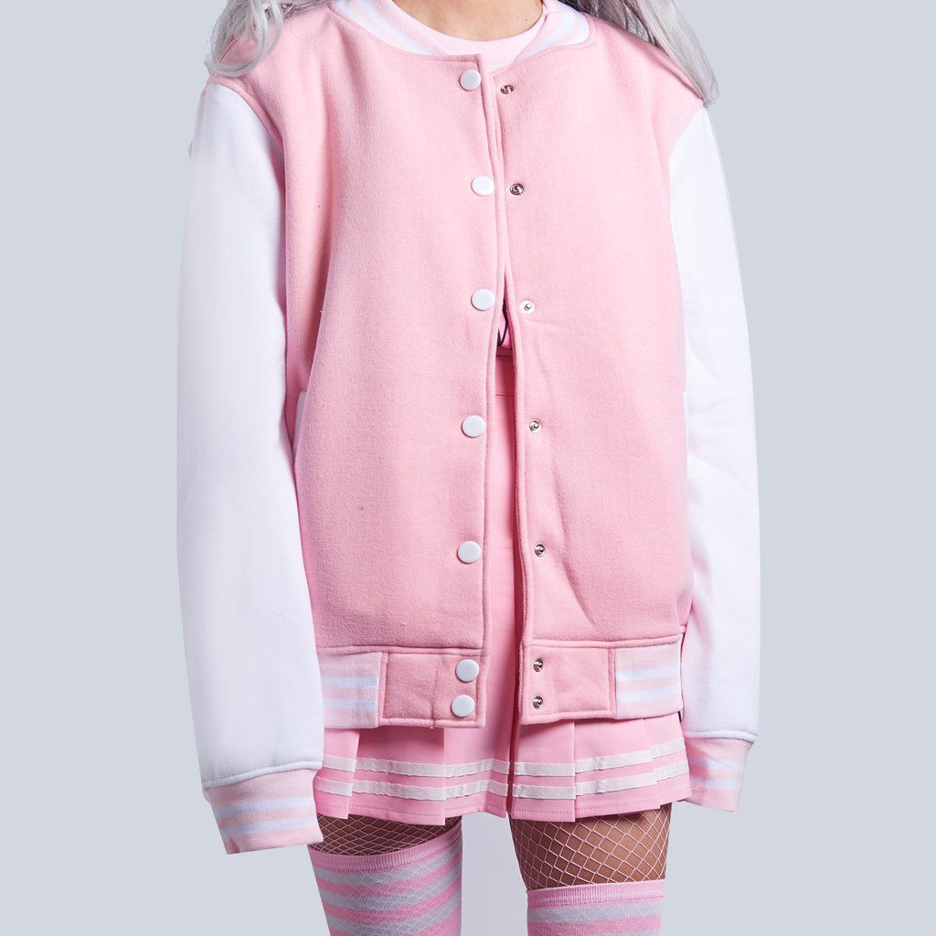 KAWAII HIGH QUALITY PINK baseball jacket -  KAWAII HIGH QUALITY PINK baseball jacket  -