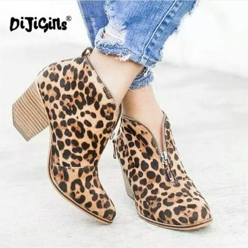 Details about  /Winter Short Ankle Boots For Women Leopard Pointed Toe Stiletto Heels Booties
