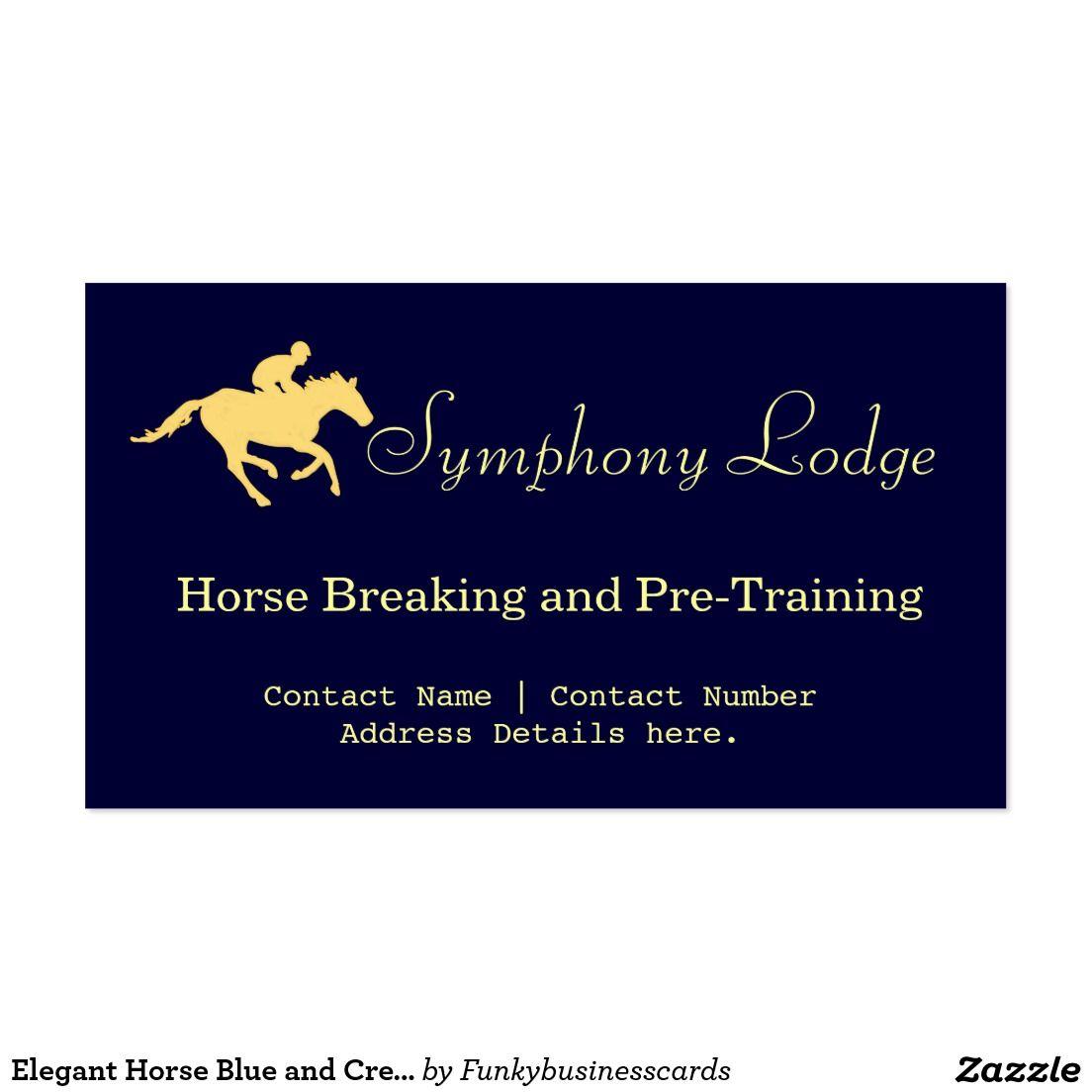 Elegant Horse Blue And Cream Business Cards Zazzle Com Elegant Horse Business Cards Cards