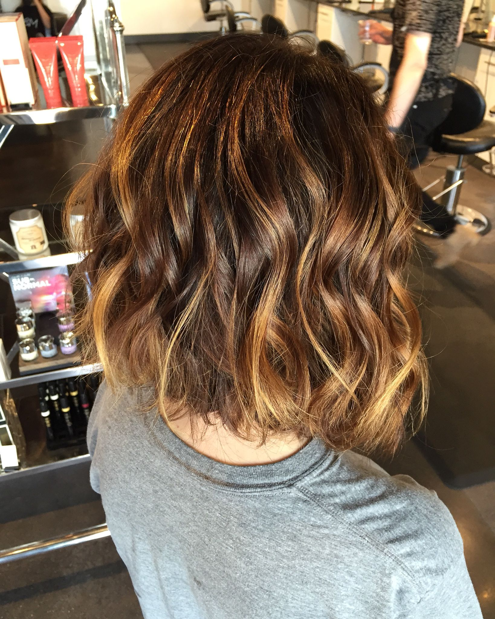 Caramel Balayage On Short Chocolate Brown Hair Beachy Sun Kissed Waves On Short Hair Short Hair Balayage Chocolate Brown Hair Balayage Hair Caramel