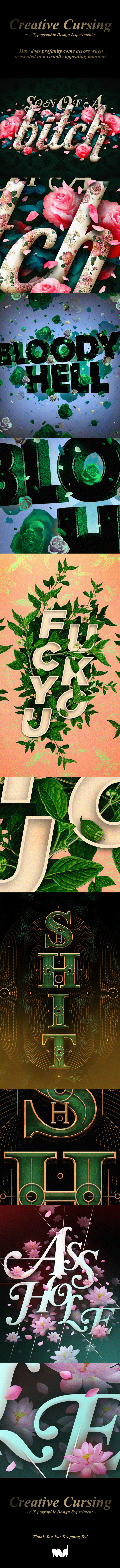 Creative Cursing - Experimental Typography by M A R K I E D A R K I E, via Behance
