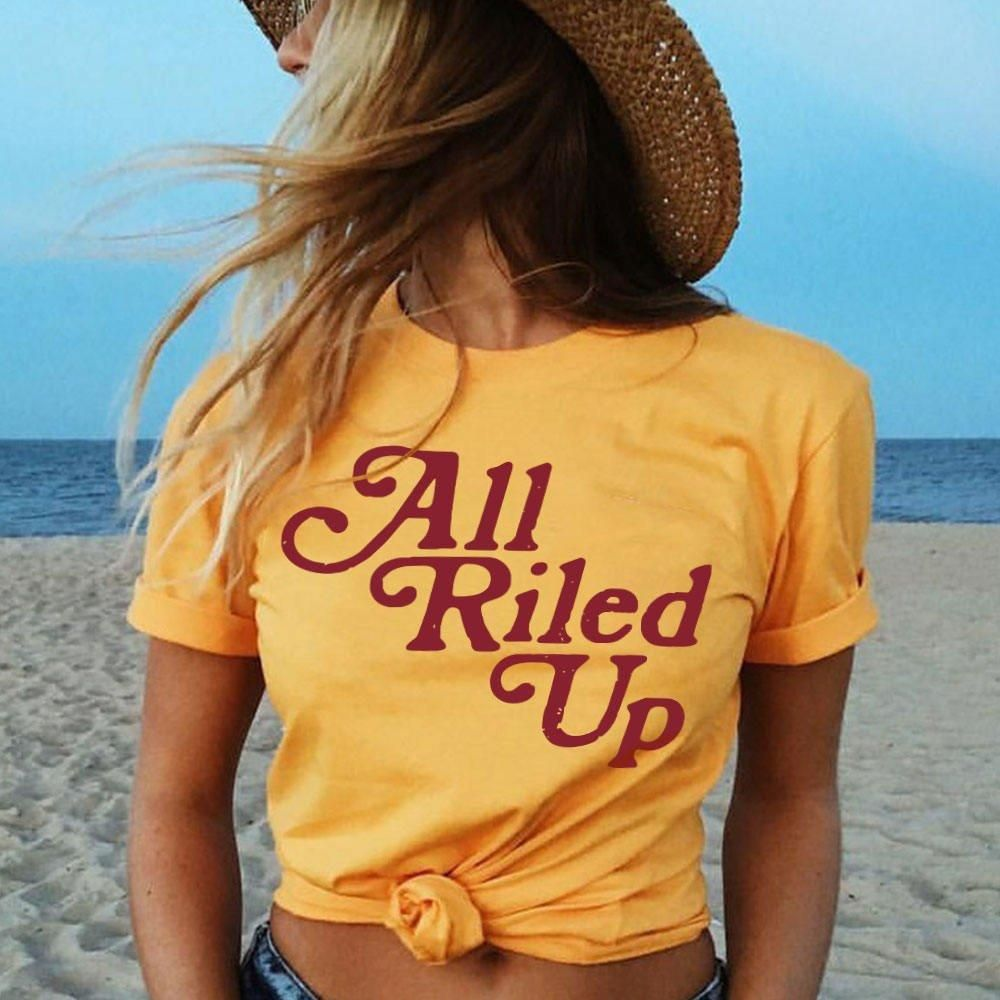 ecd626bb9 Letter Print All Riled Up Tshirt in 2019 | Cute Shirts | Hippie t ...