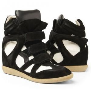Isabel Marant High Top Black and White Suede Sneaker