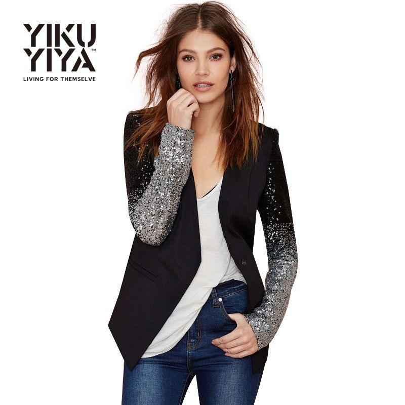 Pas cher YIKUYIYA 2017 Casual Sliver Sequin Femmes Blazer Solide Noir PU  Patchwork Blazer Femelle Un