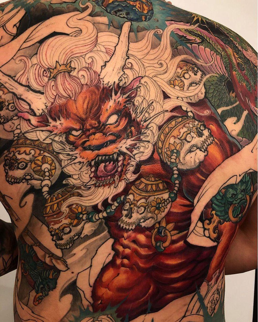 Raijin and dragon back piece inprogress by tonyhu