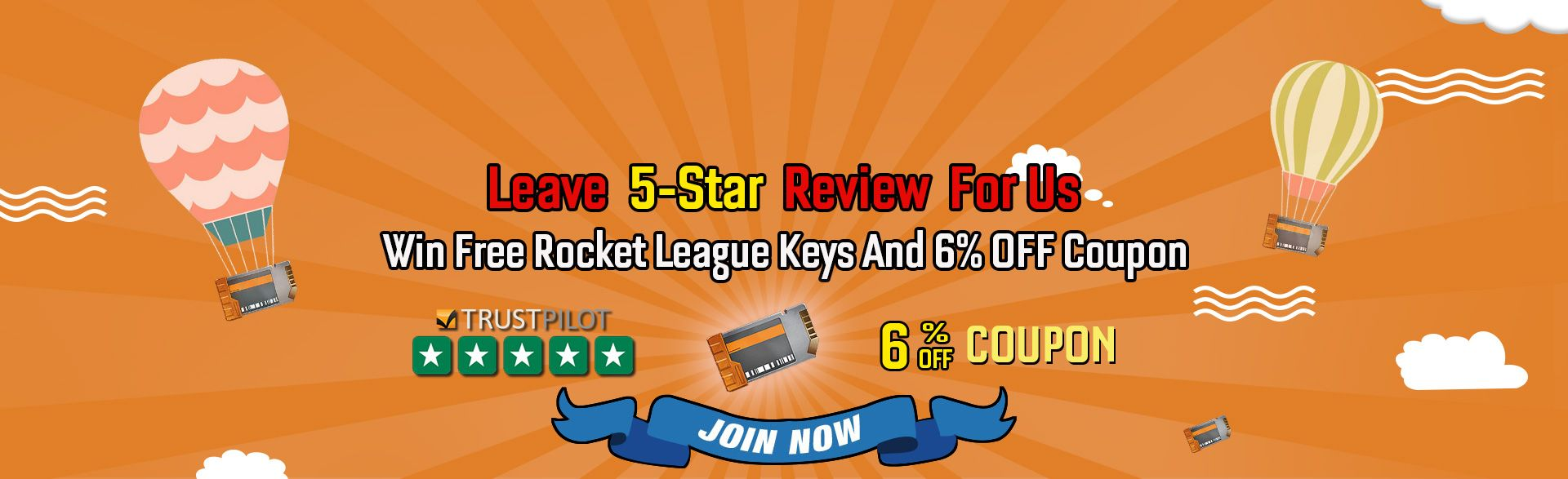 Leave 5Star Reviews For Us To Get Free Rocket League Keys