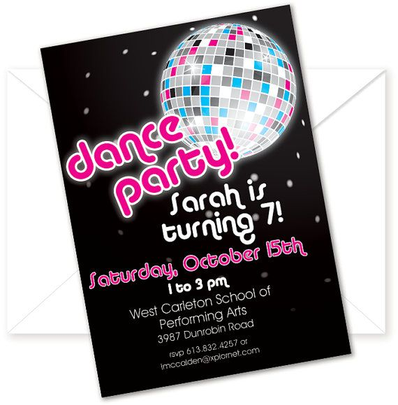 Kids Dance Party Birthday Invitation or Thank by PinkPickleParties – Dance Party Invites