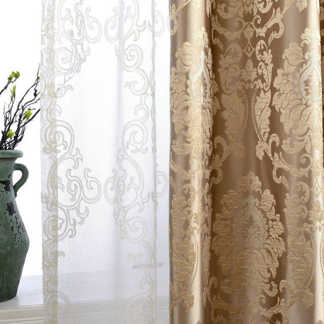 Cortinas De Damasco Para Sala Estar Luxo Europeu Painel Da Janela Cortina Tecido Jacquard Cego Quarto Sombreamento 70 Personalizado