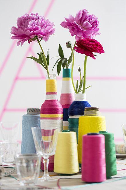 Decorare vasi e bottiglie di vetro con il filo basta del - Decorare vasi di vetro ...
