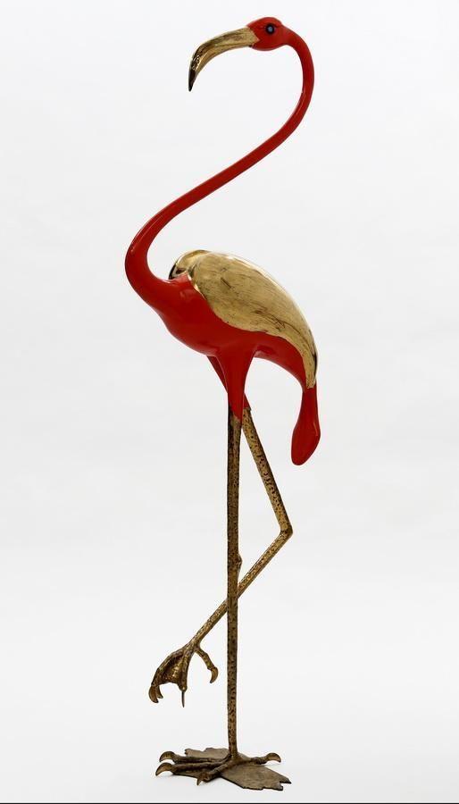 En vente samedi 23 avril 2016 par Azur Enchères Cannes à Cannes et sur le Live Interencheres : Jacques DUVAL-BRASSEUR (né en 1934), Flamand rose, circa 1969, Laiton et bronze, laque (usures), Signé, H : 160 cm. Est. 4 000 - 5 000 euros.