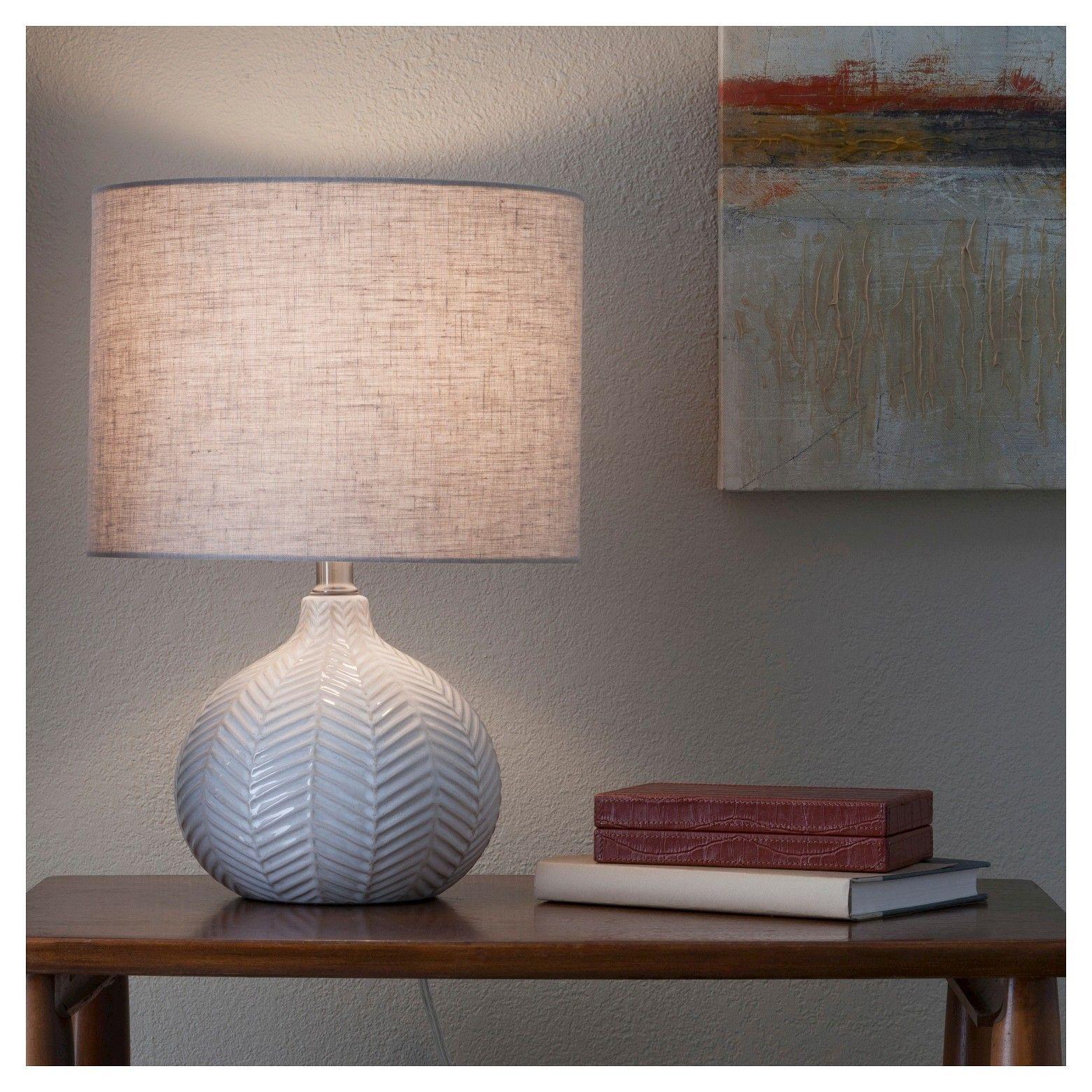 Textured Ceramic Accent Lamp Cream Includes Energy Efficient Light