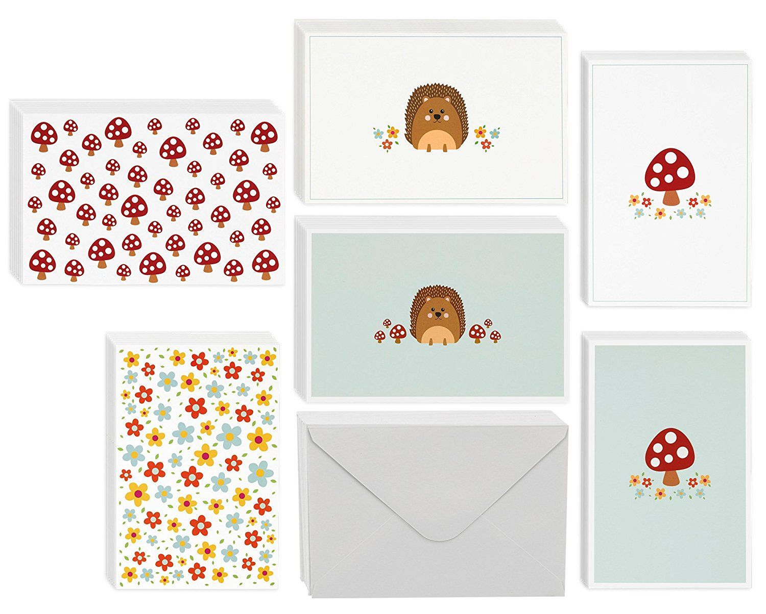 Every Occasion Blank Greeting Cards Bulk Box Set 6 Cute Illustrations Of Hedgehogs Mushrooms And Flowers For Kids Cards Cute Illustration Valentine Gifts