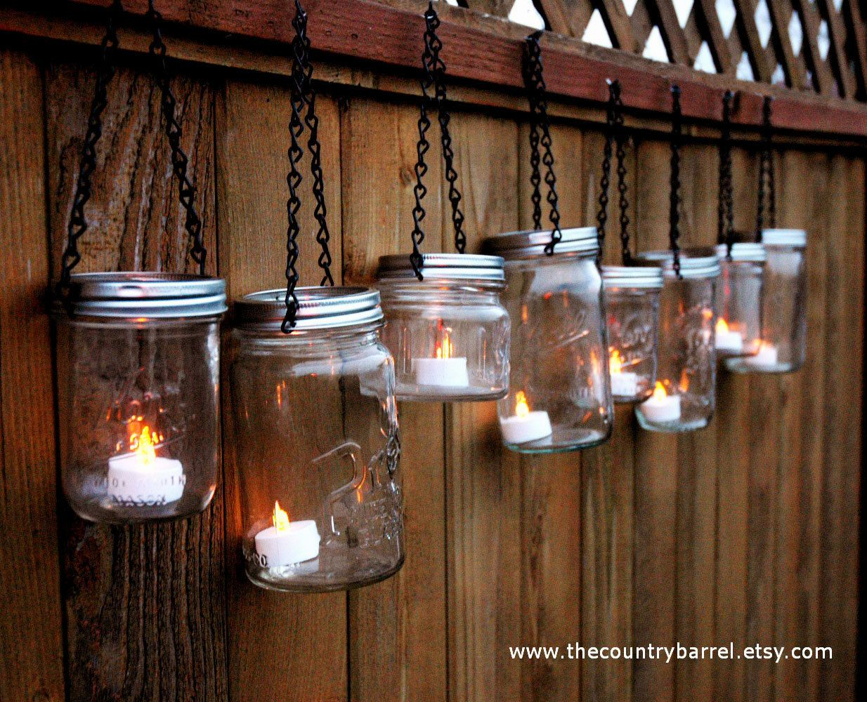 Hanging outdoor candle lanterns for patio - Mason Jar Lanterns Hanging Tea Light By Thecountrybarrel On Etsy 42 00