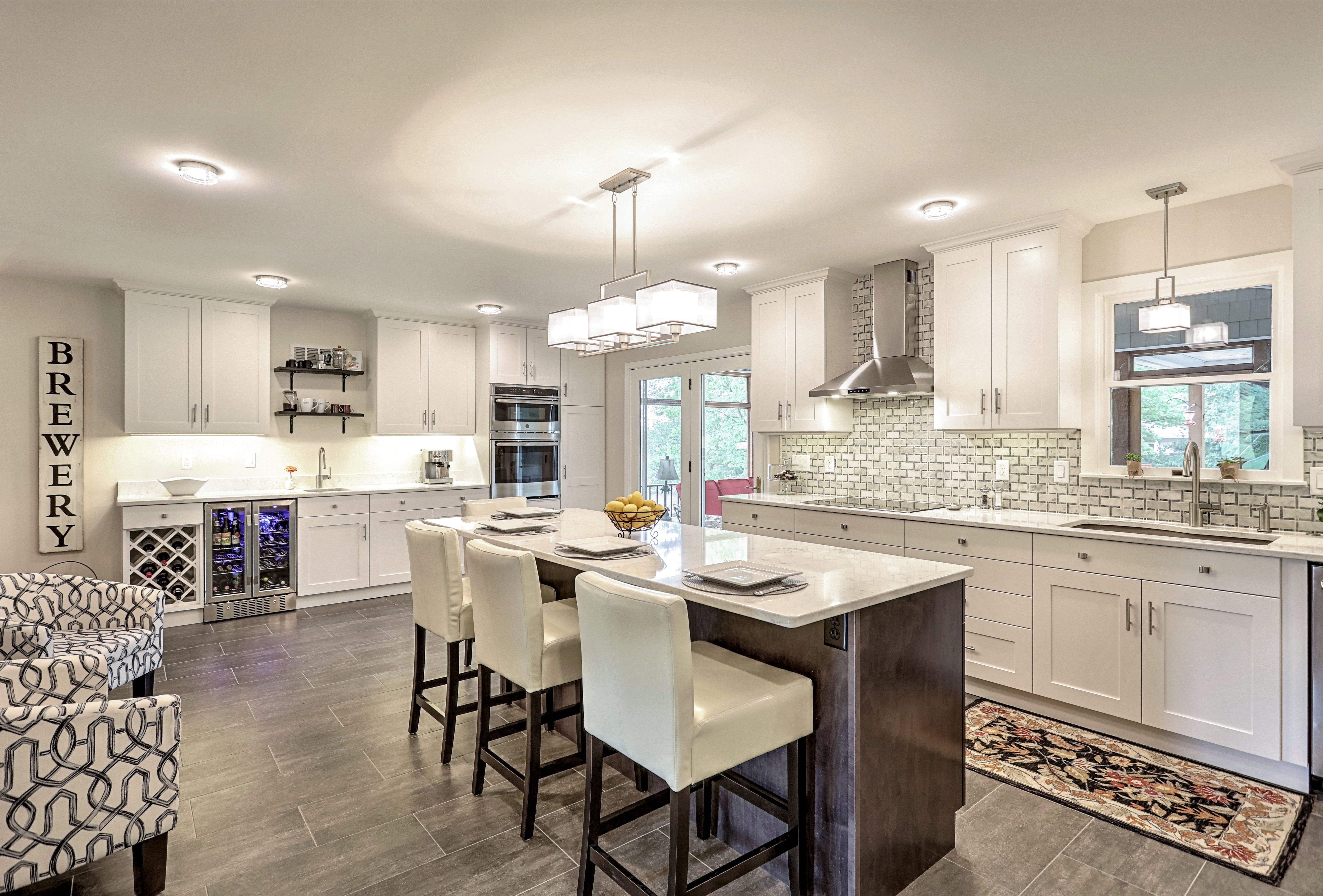 Open Kitchen Concept with white painted on