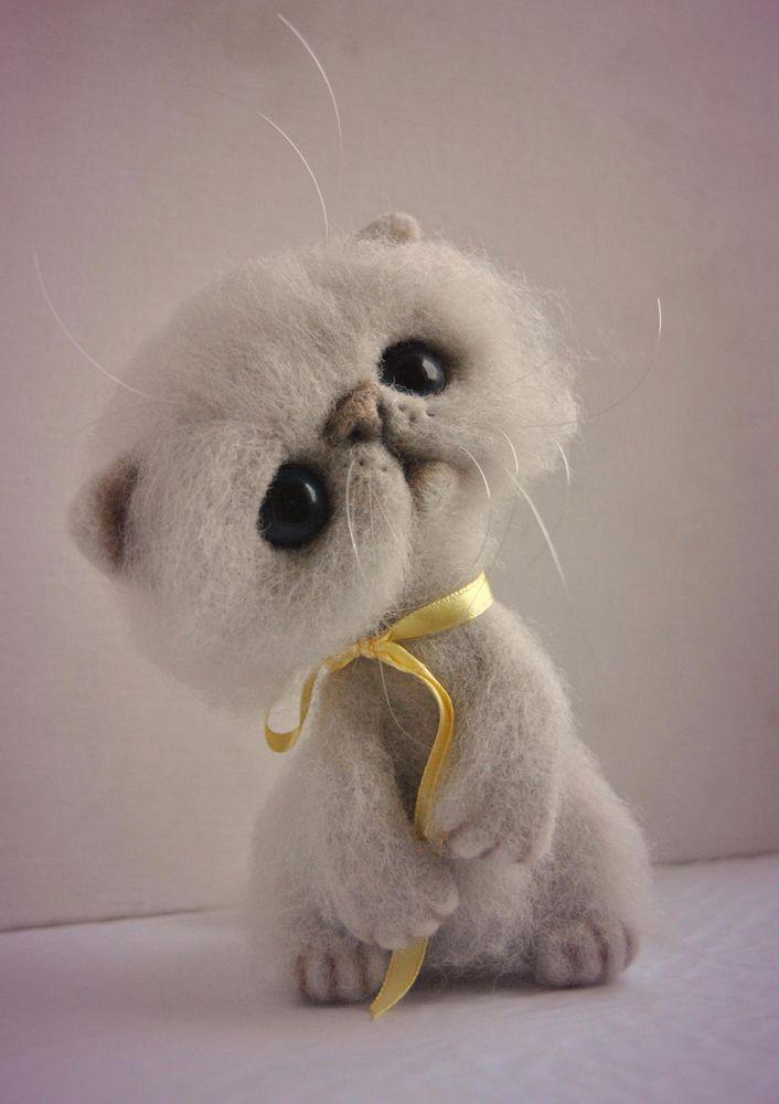 OOAK Kitty Catherine Wool Sculpture Needle Felted Handmade | eBay