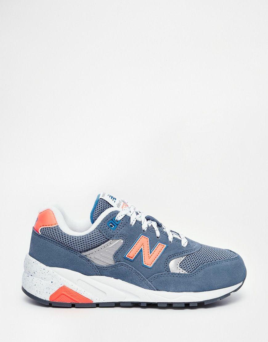 New Balance | New Balance - 580 - Baskets en daim et tulle - Bleu chez.  Chaussures ...