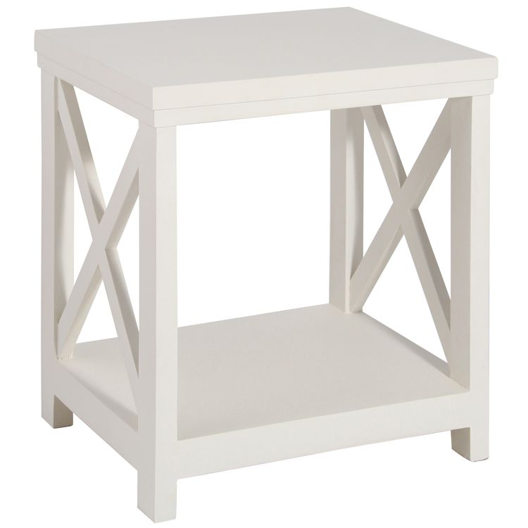 Antique White Mango Wood Criss Cross Table