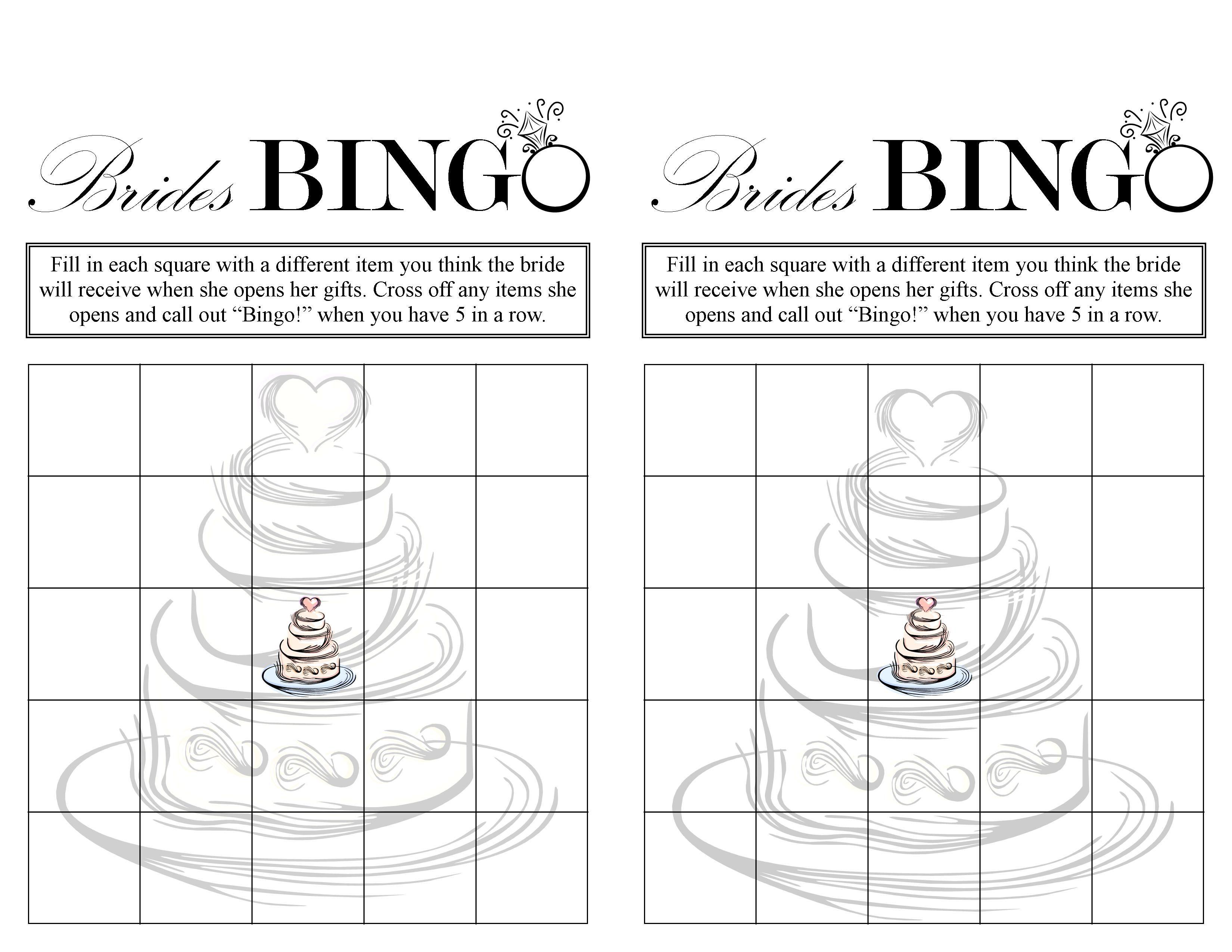 Bridal Shower Bingo Free Printable Bridal Shower Game