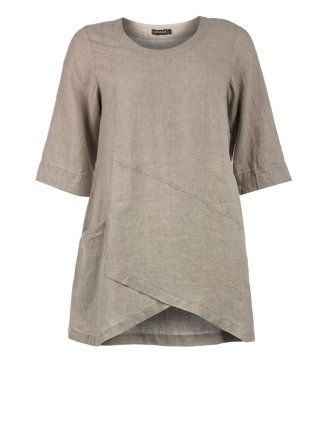 A-line linen tunic in Natural designed by Grizas to find in Category ...