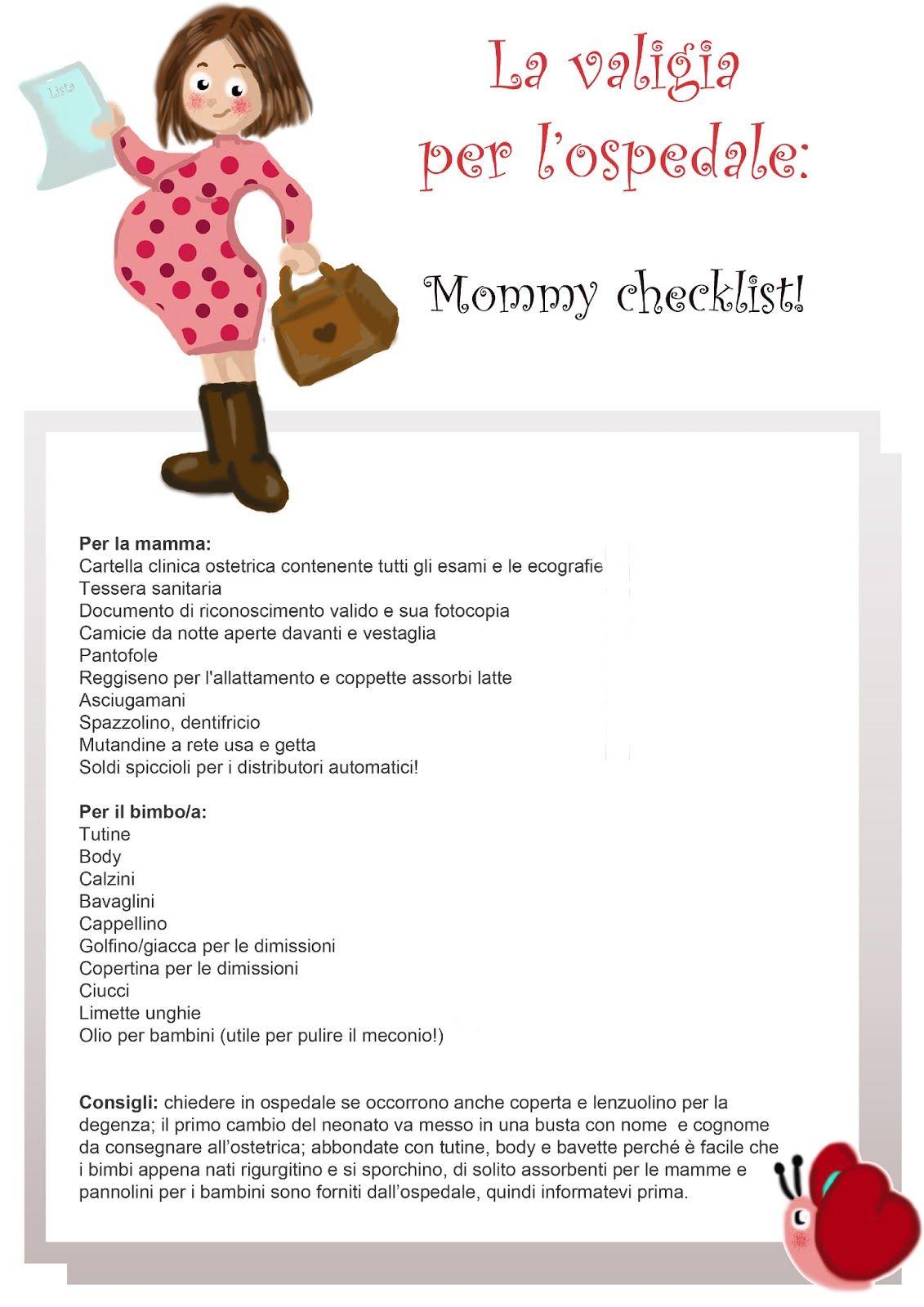 Il Mondo da scoprire  Mommy checklist  la valigia per l ospedale ... 7b3a1ef764fd