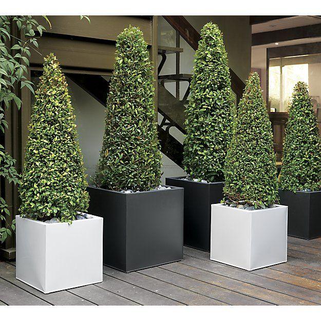 Blox Large Square Galvanized Hi Gloss White Planter 640 x 480