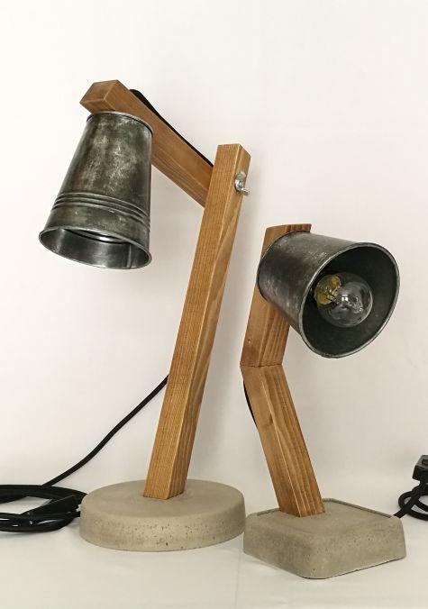 lampes lucy petit format et grand format bois b ton zinc r alis es la main cr ations. Black Bedroom Furniture Sets. Home Design Ideas