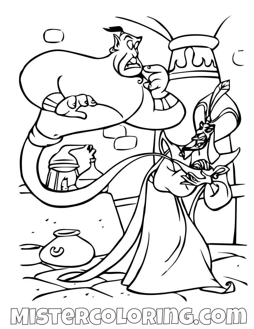 Genie Captured By Jafar Aladdin Coloring Page Monster Coloring Pages Princess Coloring Pages Disney Coloring Pages