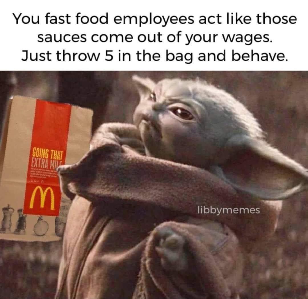 Baby Yoda Fast Food Sauces In 2020 Yoda Funny Yoda Meme Yoda