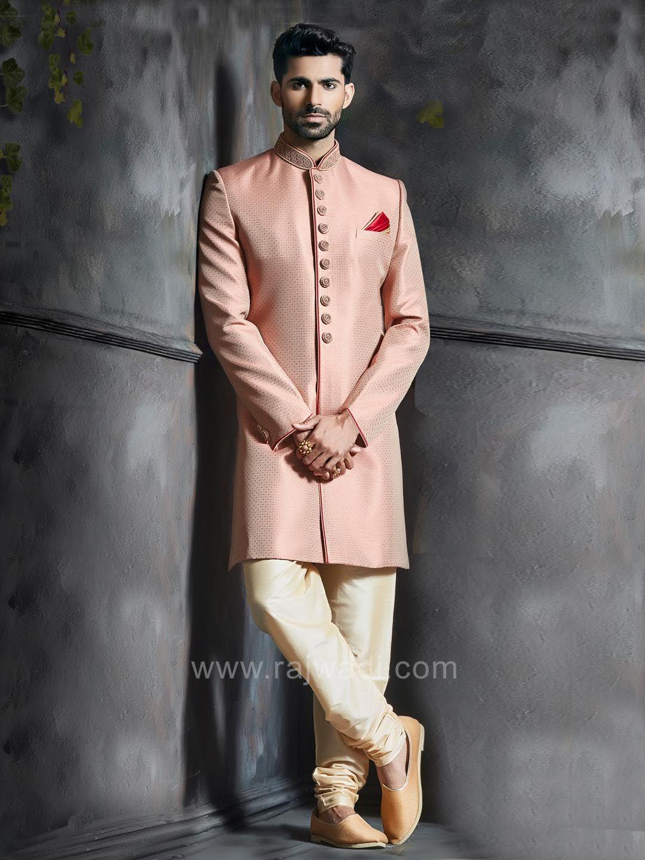 Peach brocade silk embroidered indo western rajwadi indowestern