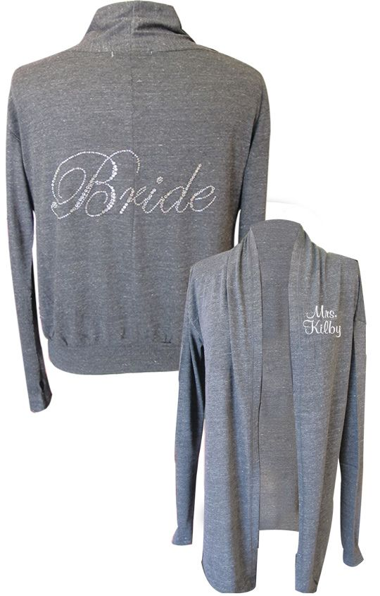 This Alternative Brand wrap is the perfect throw-on while prepping for your big day!  This rhinestone bride wrap/cardigan would be super cute with leggings, or skinny jeans.