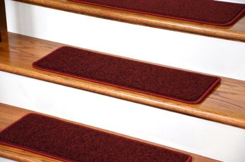 Best Dean Serged Diy Carpet Stair Treads 27 X 9 Ruby Red Plush 640 x 480