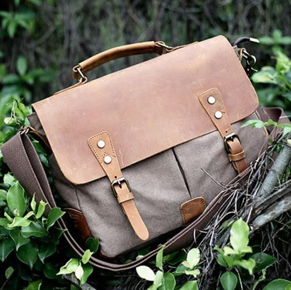 a9448866db625 Vintage Style Canvas Leather Flap-over Messenger Bag with Brass ...