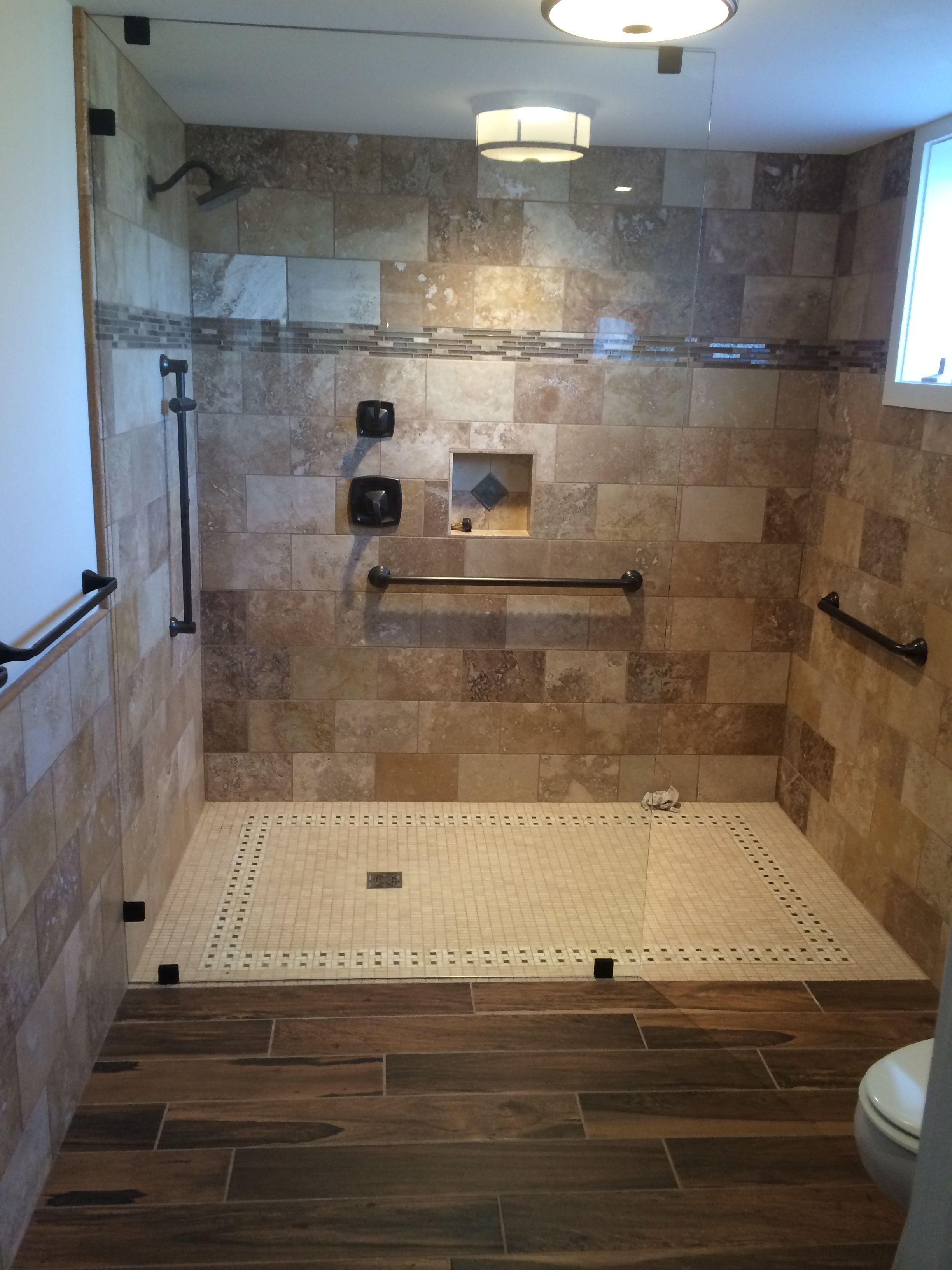 Another Beautiful Job Created With Discounted Travertine Tile Purchased A Lot Extra To Dig Through For Travertine Shower Bathrooms Remodel Bathroom Flooring