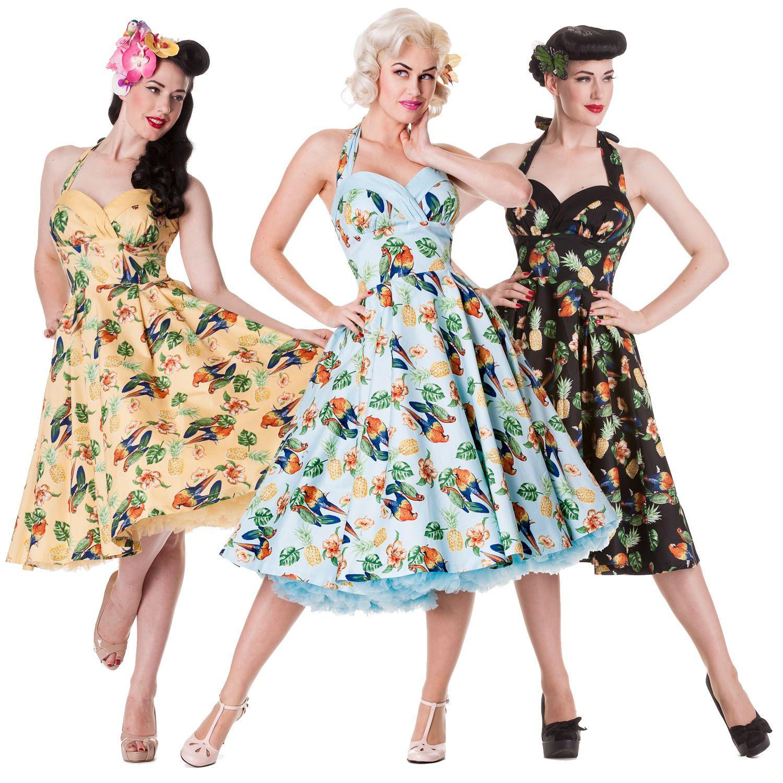 Vintage Année 50 dedans hell bunny sassy tropical bird hawaii rockabilly vintage 50s party