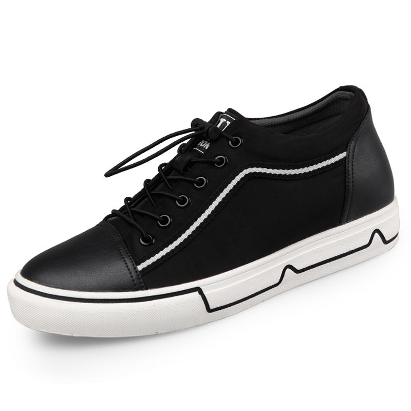 1111457ea5d Black Height Increasing Casual Canvas Shoes Lace Up Fashion Sneakers ...