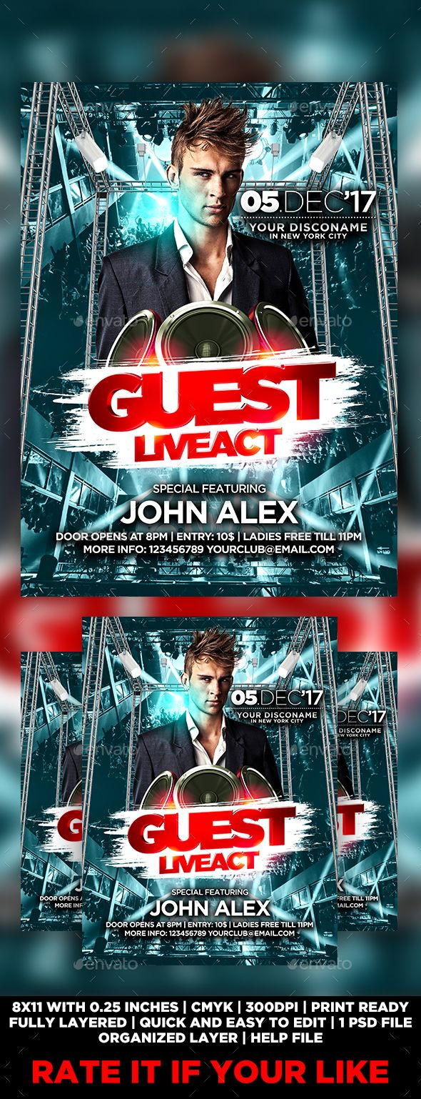 guest dj flyer template flyer template template and font logo