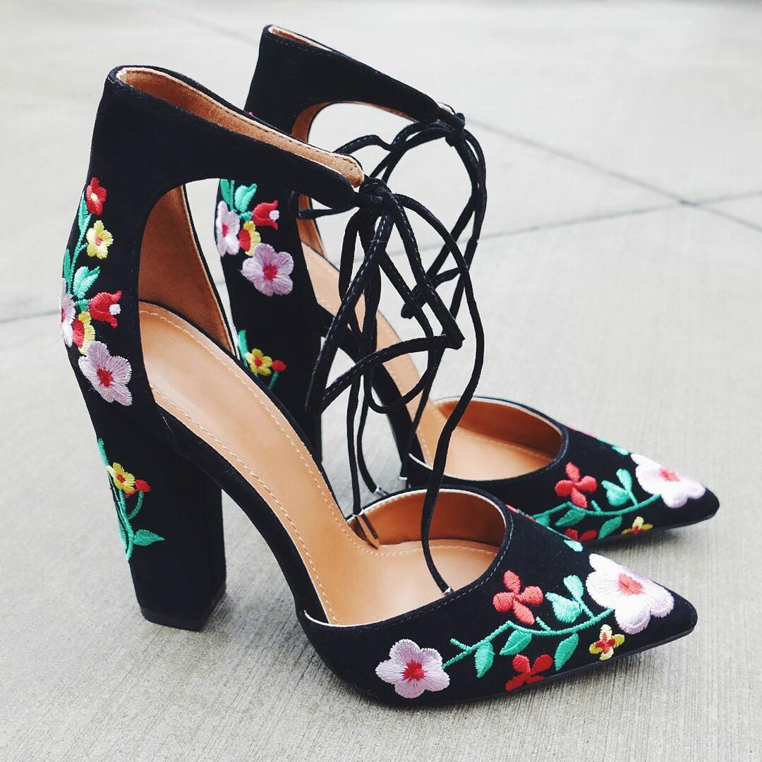 71cfb60a0 Flower Embroidered Chunky Pointy Heels. A beautiful flower embroidered  D'orsay inspired design, featuring ankle straps with lace-up detailing.