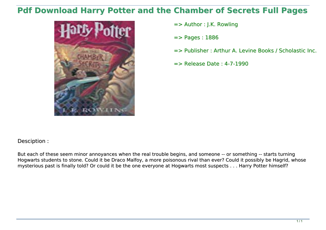 Pdf Download Harry Potter And The Chamber Of Secrets Full Pages In 2020 Harry Potter Chamber Of Secrets Rowling Harry Potter