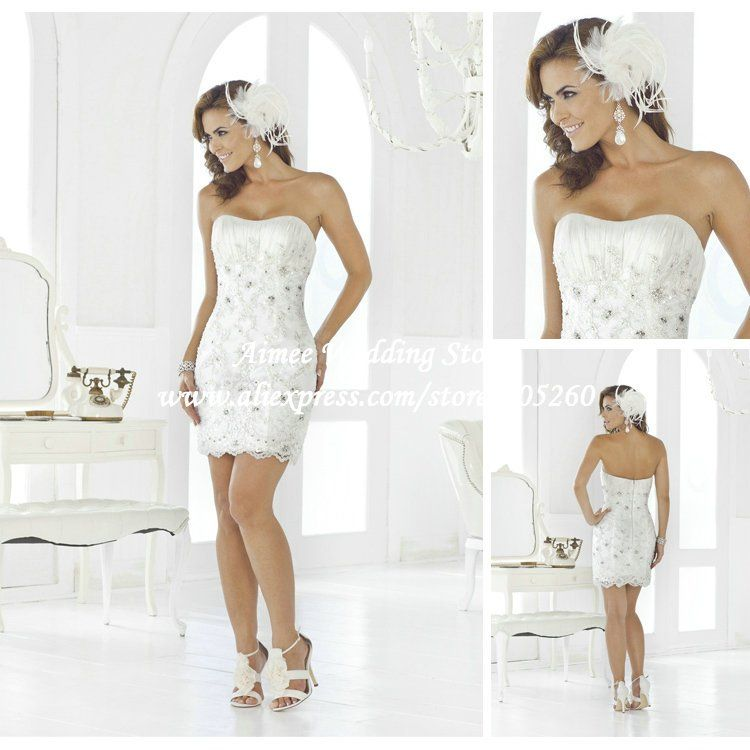 New fashion Sexy Scoop White Lace Sheath Short Wedding Dresses ...