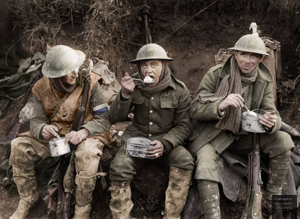 """WWI BRITISH TRENCH SOMME OFFENSIVE FRANCE 1916 8X10/"""" HAND COLOR TINTED PHOTO"""