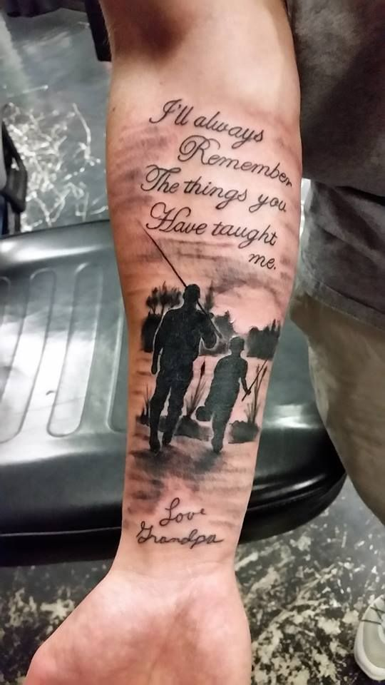 Lettering Memorialtattoo Silhouettetattoo Fishing Grandpa Grandson Tattoos Studio13tattoomg Hunting Tattoos Family Tattoos For Men Father Tattoos