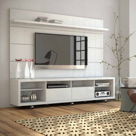 manhattan comfort cabrini tv stand and floating wall tv panel with led lights 22 for tvs