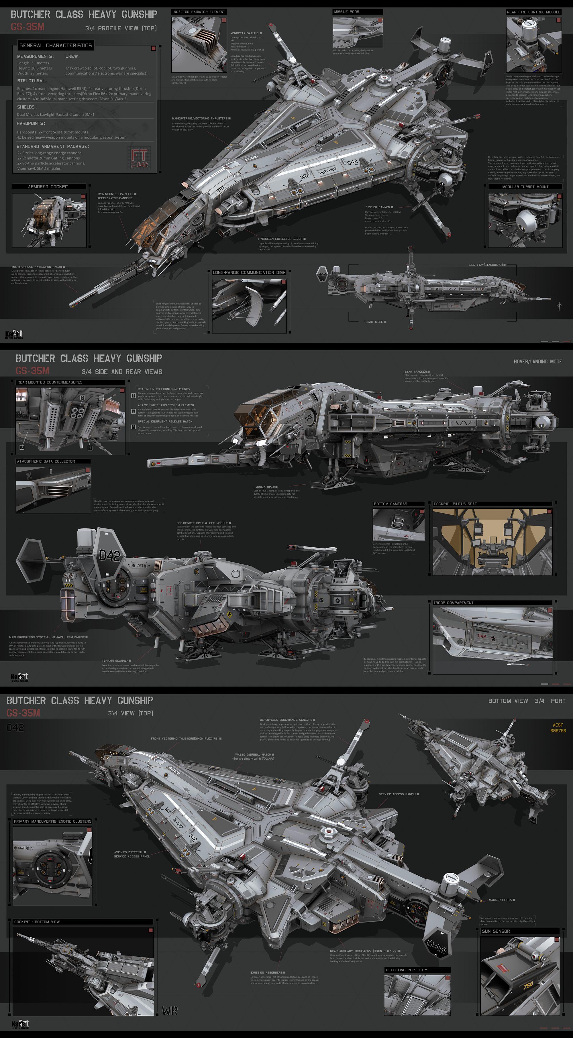 고렙 순양함 두께감/중앙 방사형 라인 주목Butcher Class Heavy Gunship by KaranaK on DeviantArt