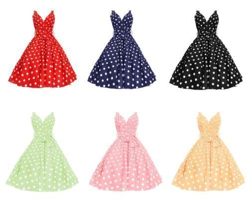 Ladies Retro Vinatge 1950'S Rockabilly Party Swing Prom Marilyn Polka Dot Dress