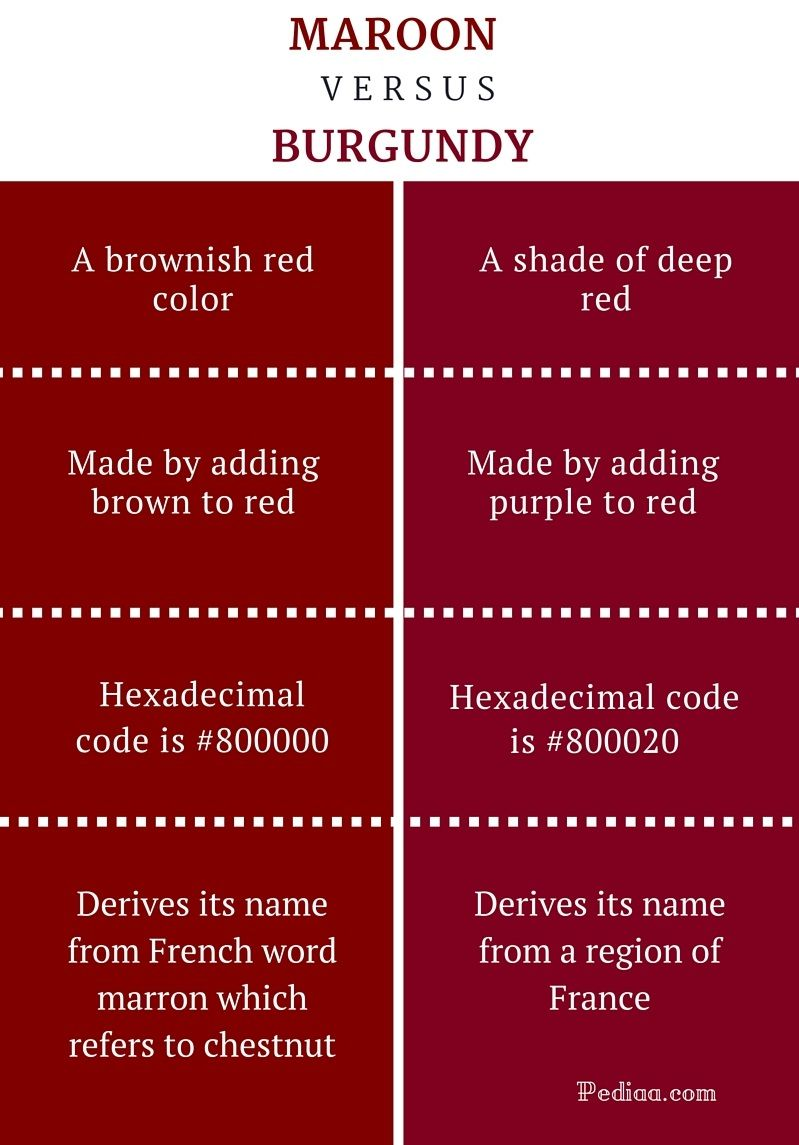 Difference Between Maroon And Burgundy Infographic