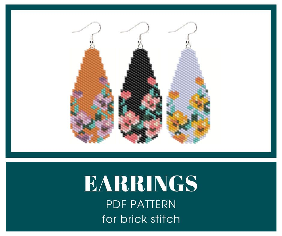Floral earrings bead pattern for brick stitch
