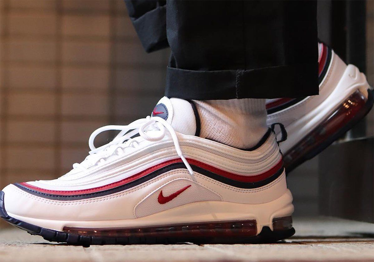 watch 2408c 8a0fe Nike Air Max 97 White Red Crush on feet