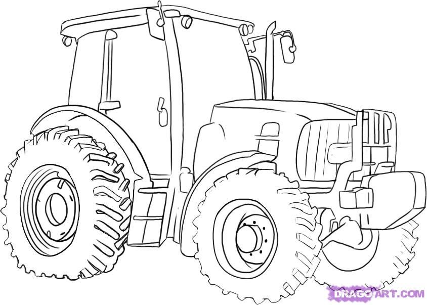 how to draw a john deere tractor step 5 | Painting