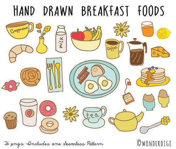 hand drawn clipart doodles clip art breakfast clipart food rh pinterest com Breakfast Plate Transparent clipart breakfast food pictures
