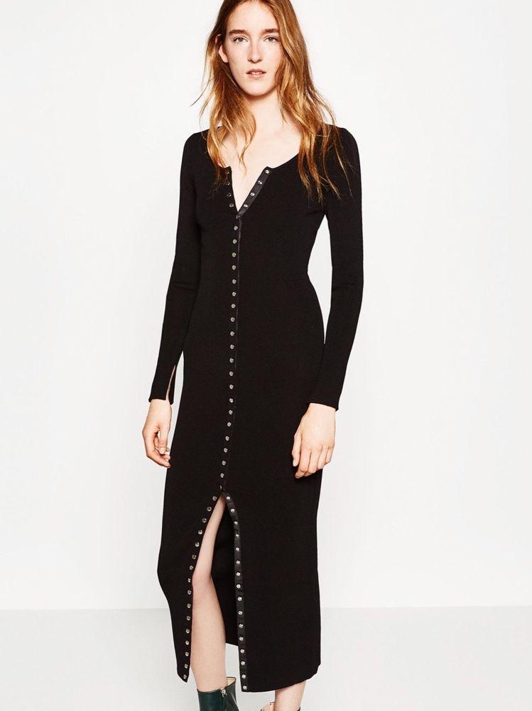 Neu Zara Schwarz Lang Maxi Strick Kleid Oder Cardigan Grosse Medium